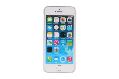 Wit Paarse Bloem Hard Case Cover Hoesje voor Apple iPhone 5/5s/SE