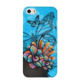 Blauw Vlinder TPU Case Cover Hoesje voor Apple iPhone 5/5s/SE