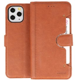 KAIYUE - Luxe Portemonnee Hoesje iPhone 11 Pro Bruin