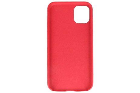Leder Design Back Cover voor iPhone 11 Pro Max Rood