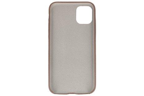 Leder Design Back Cover voor iPhone 11 Pro Max Donker Bruin