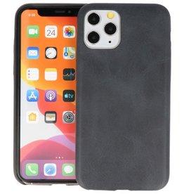 Leder Design Back Cover iPhone 11 Pro Zwart