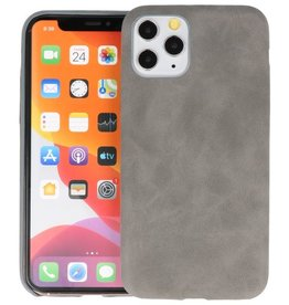 Leder Design Back Cover iPhone 11 Pro Grijs