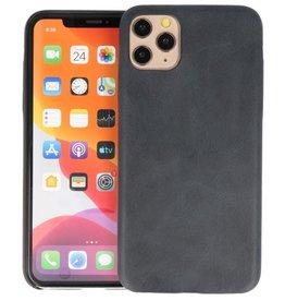 Leder Design Back Cover iPhone 11 Pro Max Zwart