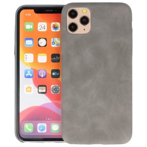 Leder Design Back Cover voor iPhone 11 Pro Max Grijs