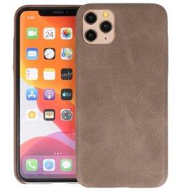 Leder Design Back Cover iPhone 11 Pro Max Donker Bruin