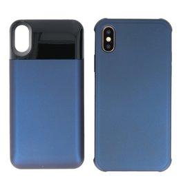 Battery Power Bank + Back Case iPhone X / Xs Blauw