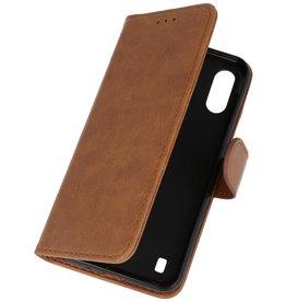Samsung Galaxy A01 Hoesje Kaarthouder Book Case Telefoonhoesje Bruin