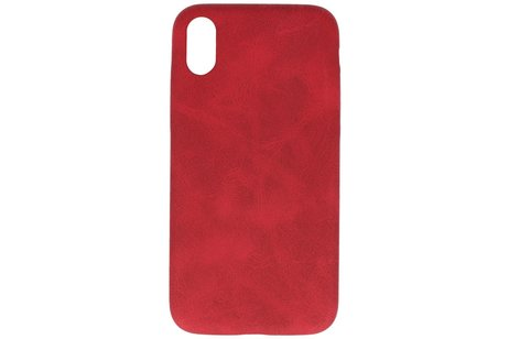Leder Design Backcover voor iPhone XR Rood
