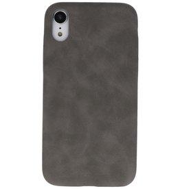 Leder Design Backcover iPhone XR Grijs