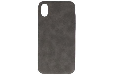Leder Design Backcover voor iPhone XR Grijs