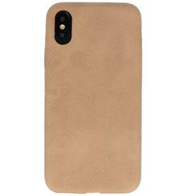 Leder Design Backcover iPhone X / Xs Beige