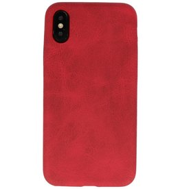 Leder Design Backcover iPhone X / Xs Rood