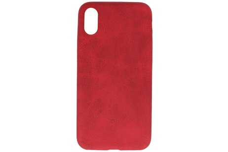 Leder Design Backcover voor iPhone X / Xs Rood