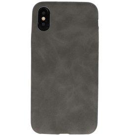 Leder Design Backcover iPhone X / Xs Grijs