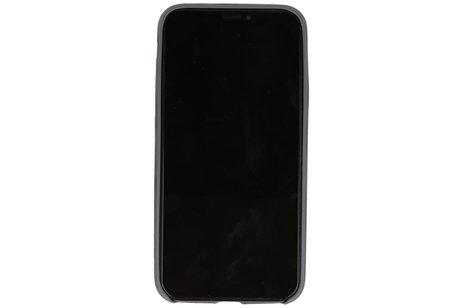 Leder Design Backcover voor iPhone X / Xs Grijs