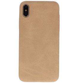 Leder Design Backcover iPhone Xs Max Beige