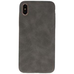 Leder Design Backcover voor iPhone Xs Max Grijs