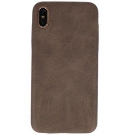 Leder Design Backcover iPhone Xs Max Donker Bruin