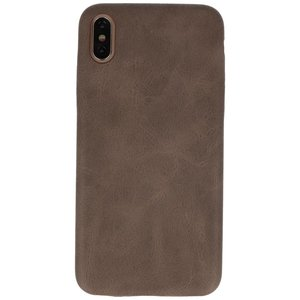Leder Design Backcover voor iPhone Xs Max Donker Bruin