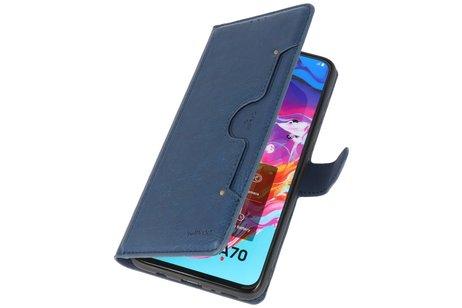 KAIYUE - Luxe Portemonnee Telefoonhoesje voor Samsung Galaxy A70 - Navy