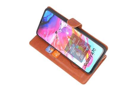 KAIYUE - Luxe Portemonnee Telefoonhoesje voor Samsung Galaxy A70 - Bruin