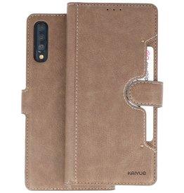 KAIYUE - Luxe Portemonnee Hoesje Samsung Galaxy A70 - Grijs