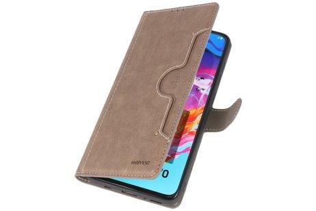 KAIYUE - Luxe Portemonnee Telefoonhoesje voor Samsung Galaxy A70 - Grijs