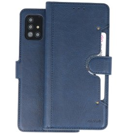 KAIYUE - Luxe Portemonnee Hoesje Samsung Galaxy A51 - Navy
