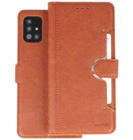 KAIYUE - Luxe Portemonnee Hoesje Samsung Galaxy A51 - Bruin
