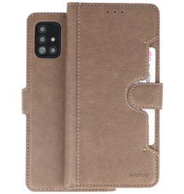KAIYUE - Luxe Portemonnee Hoesje Samsung Galaxy A51 - Grijs