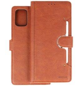 KAIYUE - Luxe Portemonnee Hoesje Samsung Galaxy A71 - Bruin