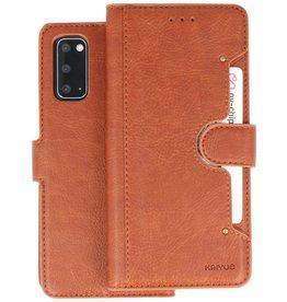 KAIYUE - Luxe Portemonnee Hoesje Samsung Galaxy S20 - Bruin