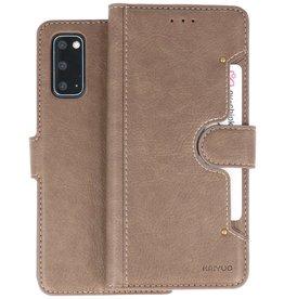 KAIYUE - Luxe Portemonnee Hoesje Samsung Galaxy S20 - Grijs