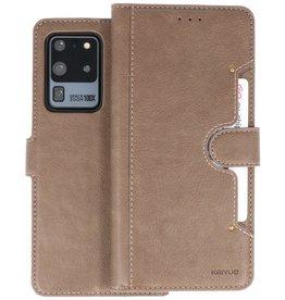 KAIYUE - Luxe Portemonnee Hoesje Samsung Galaxy S20 Ultra - Grijs