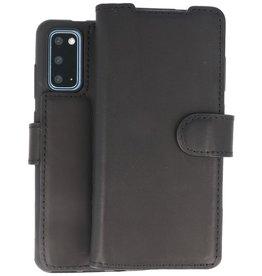 BAOHU Handmade Leer Telefoonhoesje Samsung Galaxy S20 Zwart