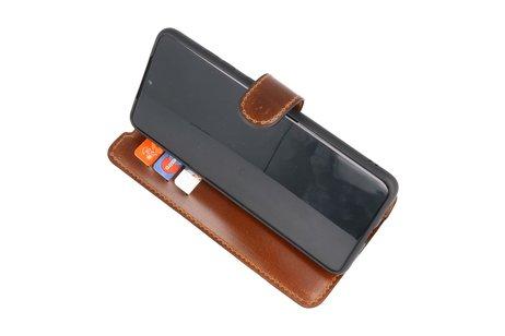 BAOHU Handmade Leer Telefoonhoesje Wallet Cases voor Samsung Galaxy S20 Ultra - Bruin