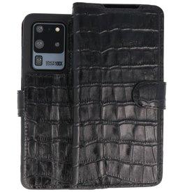 BAOHU Krokodil Handmade Leer Telefoonhoesje Samsung Galaxy S20 Ultra Zwart