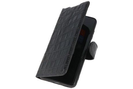 BAOHU Krokodil Handmade Leer Telefoonhoesje Wallet Cases voor Samsung Galaxy S20 Ultra Zwart