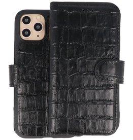 BAOHU Krokodil Handmade Leer Telefoonhoesje iPhone 11 Pro Zwart