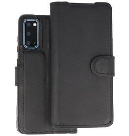 BAOHU Handmade 2 in 1 Leer Telefoonhoesje Samsung Galaxy S20 - Zwart