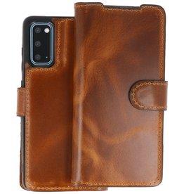 BAOHU Handmade 2 in 1 Leer Telefoonhoesje Samsung Galaxy S20 - Bruin