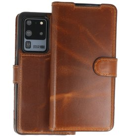 BAOHU Handmade 2 in 1 Leer Telefoonhoesje Samsung Galaxy S20 Ultra - Bruin