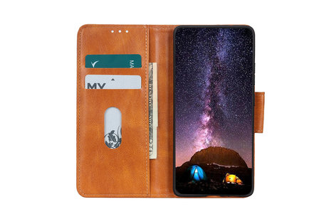 Zakelijke Book Case Telefoonhoesje voor Samsung Galaxy A71 - Bruin