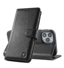 Echt Lederen Book Case Hoesje iPhone 12 Pro Max - Zwart