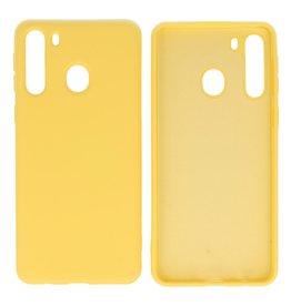 Samsung Galaxy A21 Hoesje Fashion Backcover Telefoonhoesje Geel