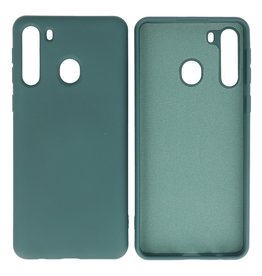 Fashion Color Backcover Hoesje Samsung Galaxy A21 Donker Groen