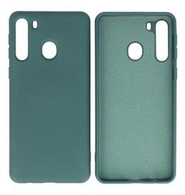 Samsung Galaxy A21 Hoesje Fashion Backcover Telefoonhoesje Donker Groen