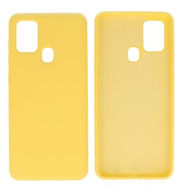 Fashion Color Backcover Hoesje Samsung Galaxy A21s Geel