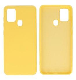 Samsung Galaxy A21s Hoesje Fashion Backcover Telefoonhoesje Geel